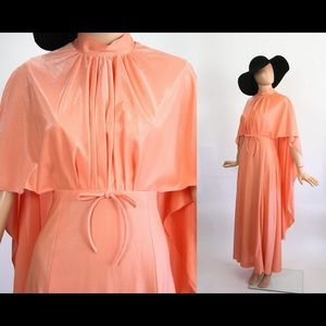 Vintage 1970s Prom Dress Angel Cape 70s Maxi Gown